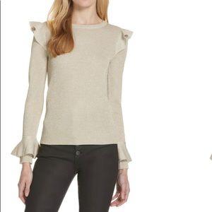 NEW Alice + Olivia Mittie Metallic Ruffle Sweater